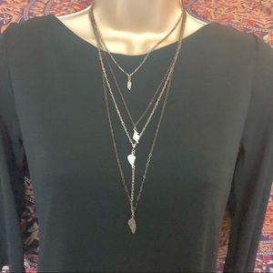Silver & pewter FREE PEOPLE quad layered necklace